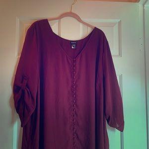 Torrid High Low Maroon Flowy Boho Vintage Dress 3